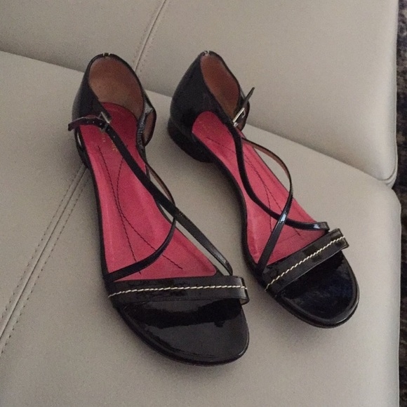 kate spade Shoes - KATE SPADE PATENT LEATHER BLACK STRAP SANDALS